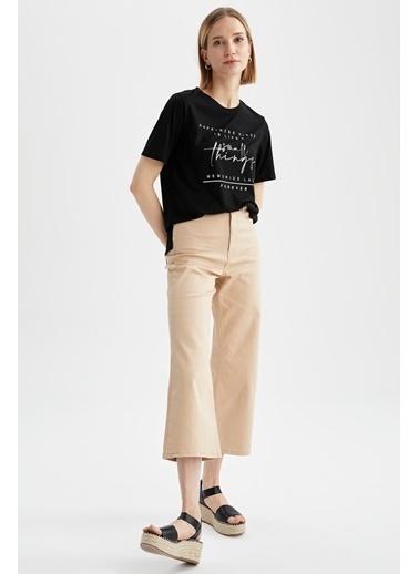 DeFacto Slogan Baskılı Relax Fit Kısa Kollu T-shirt Siyah
